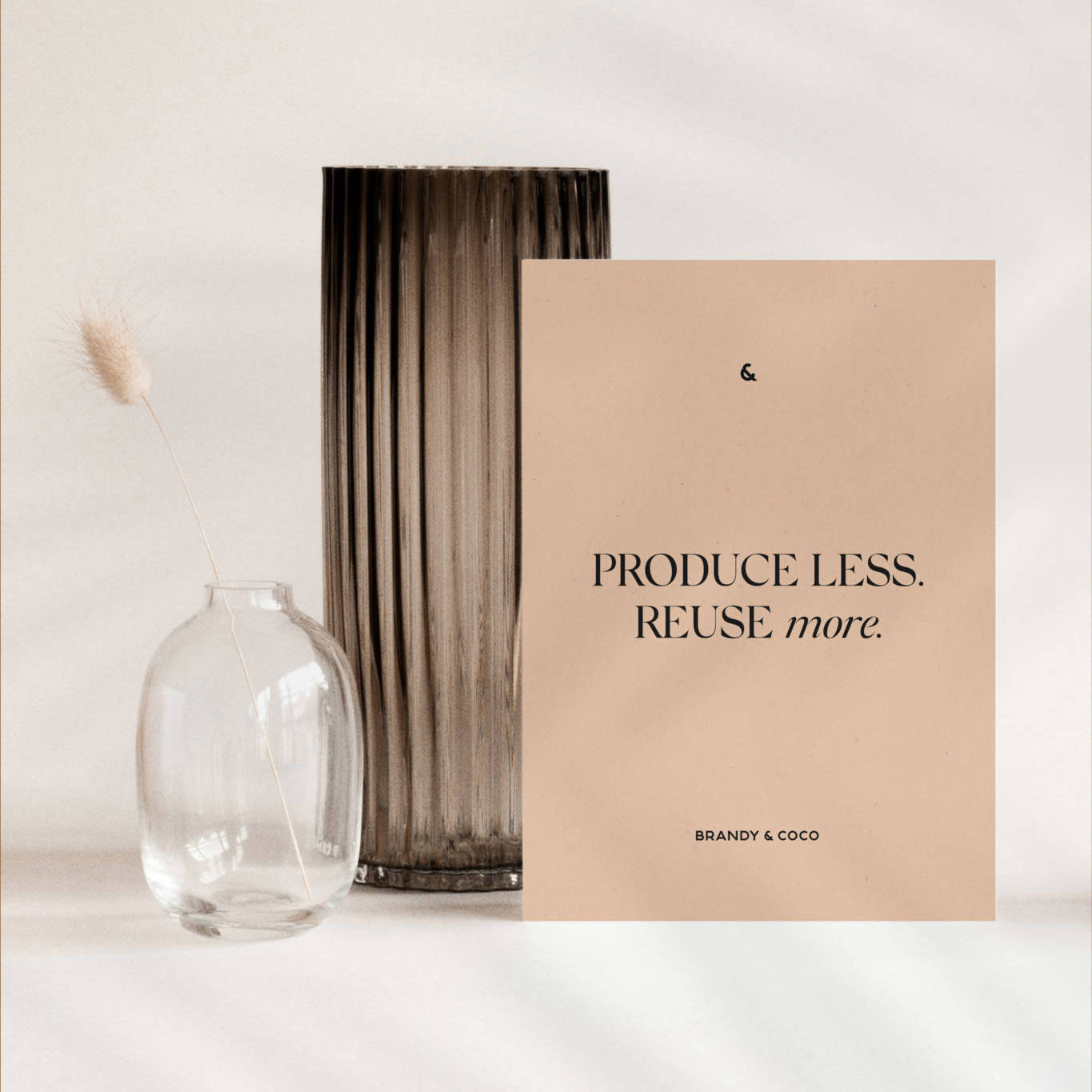 produce less reuse more post card