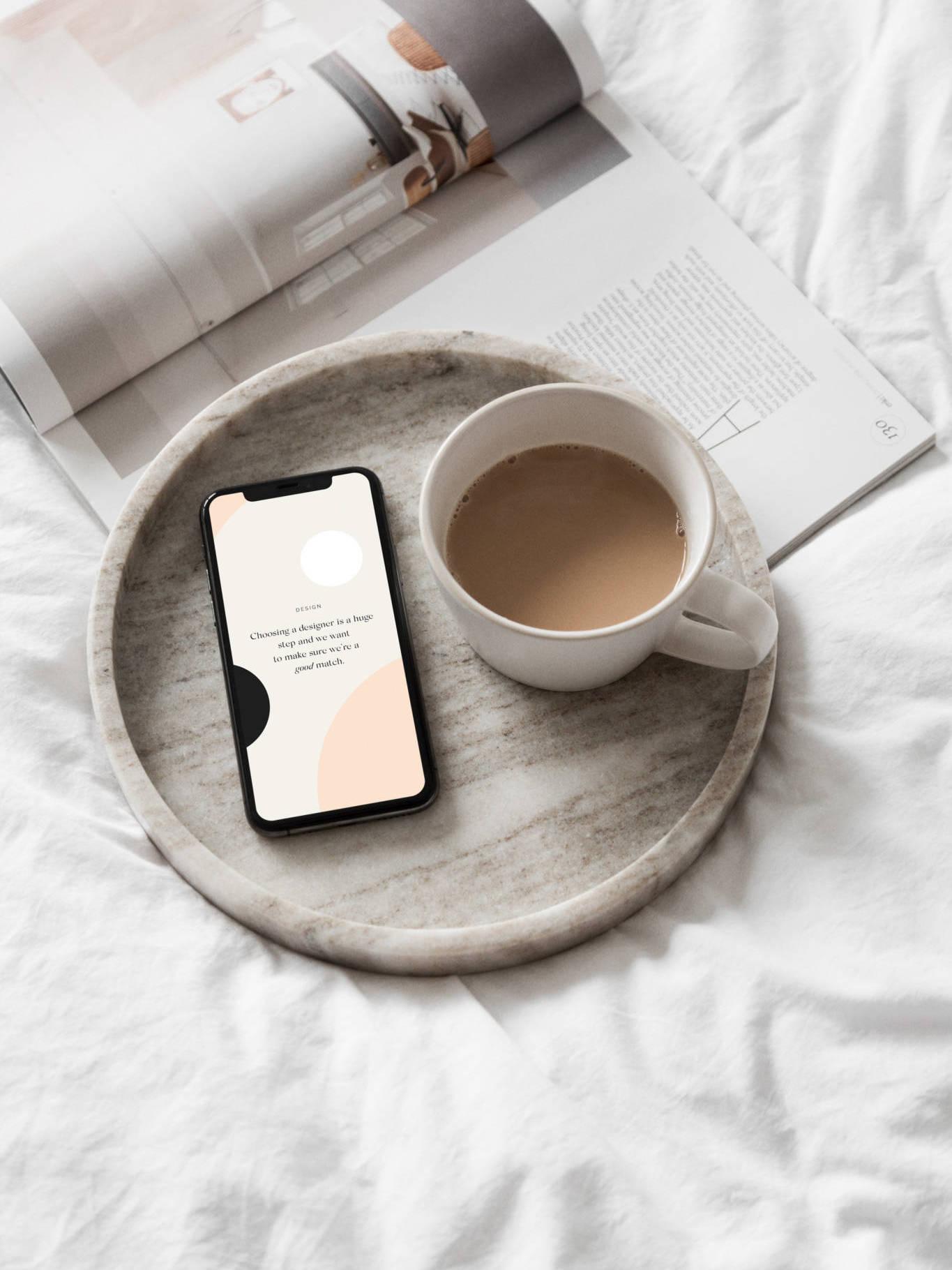 coffee and phone mockup